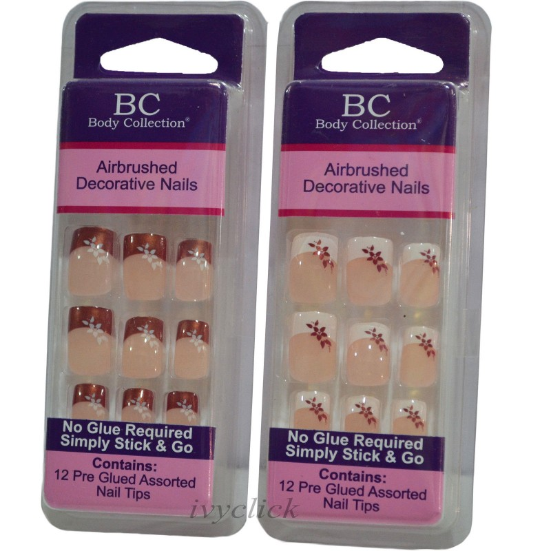 Body Collection Airbrushed Decorative 12 Pre-Glued Nails