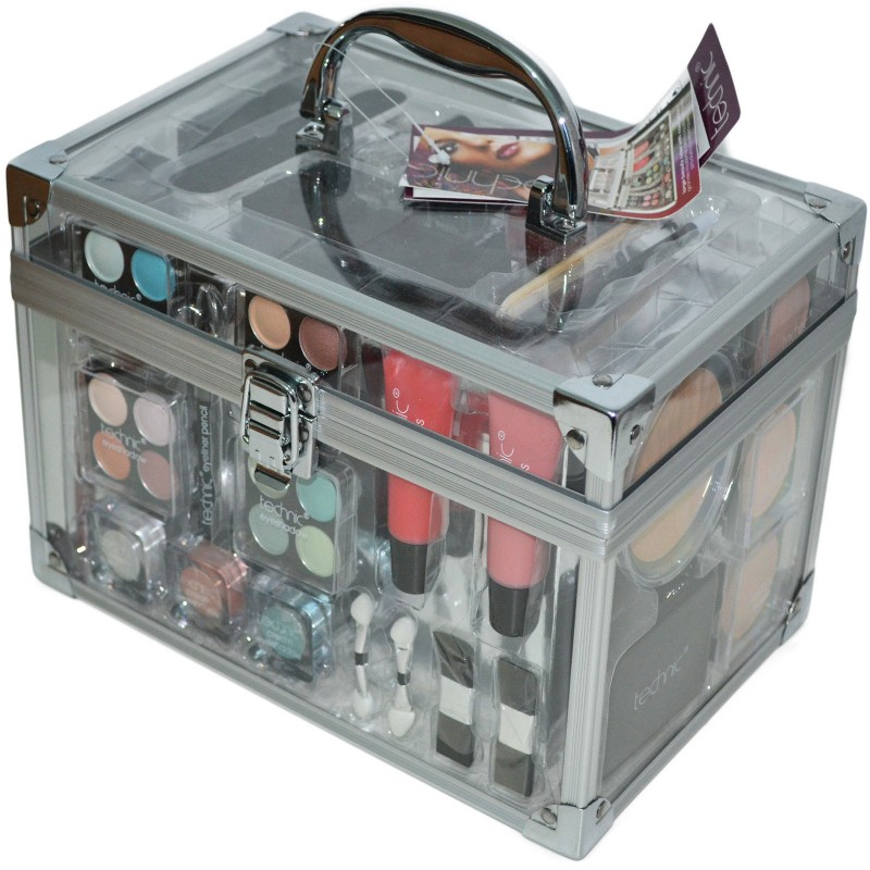 Technic Clear Large Beauty Carry Case with Cosmetics